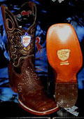 SKU#ET6728 Wild West Genuine Ostrich Square White Rodeo Western Cowboy Boot