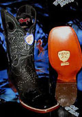 SKU#X-63R Wild West Genuine Crocodile ~ Alligator Belly Square Black Rodeo Western Cowboy Boot
