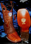 SKU#V-37R Wild West Genuine Crocodile ~ Alligator Belly Square Cognac Rodeo Western Cowboy Boot
