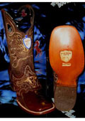 SKU#Q-38F Wild West Genuine Ostrich Leg Square Brown Rodeo Western Cowboy Boot