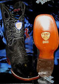 SKU#L-49Q Wild West Genuine Python ~ Snake Square Black Rodeo Western Cowboy Boot