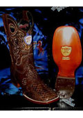 SKU#T-73A Wild West Genuine Python ~ Snake Square Brown Rodeo Western Cowboy Boot