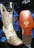 SKU#R-30V Wild West Genuine Python ~ Snake Square Natural Rodeo Western Cowboy Boot