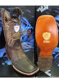 SKU#N-04Q Wild West Square Brown Genuine Shark Rodeo Western Cowboy Boot