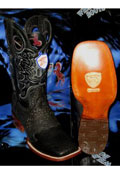 SKU#Q67-T Wild West Square Black Genuine Shark Rodeo Western Cowboy Boot
