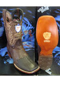 SKU#B-90S Wild West Square Brown Genuine Shark Rodeo Western Cowboy Boot