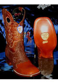 SKU#Y-37K Wild West Square Cognac Genuine Shark Rodeo Western Cowboy Boot