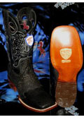 SKU#V-73T Wild West Square Black Genuine Shark Rodeo Western Cowboy Boot