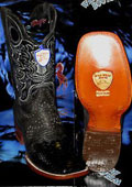 SKU#G-38R Wild West Genuine Python ~ Snake Square Black Rodeo Western Cowboy Boot