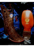 SKU#P-63Q Wild West Genuine Python ~ Snake Square Brown Rodeo Western Cowboy Boot