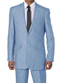 SKU#E602-G New Men's 2 Piece Luxurious 100% Linen Suit 2 Buttons Blue