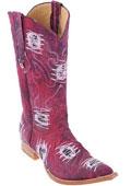 SKU#KA2038 Denim Burgundy ~ Maroon ~ Wine Color Handmade Los Altos Fabric Men Cowboy Fashion Western Style Boots