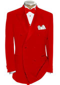 Double Breasted Tuxedo Shirt & Bow Tie Package 6 on 2 Button Closer Style Jacket Hot Red $595