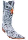 SKU#KA5820 Men's Los Altos COWBOY Fashion Western Boots Handmade Denim Rustic White 6x Toe