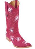 SKU#KA5012 Denim Red Mens Cowboy Fashion Los Altos Western Boots Riding Handmade Fabric