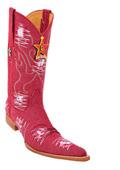 SKU#KA5568 Men's Los Altos COWBOY Fashion Western Boots Handmade Denim Fabric Red 6x Toe