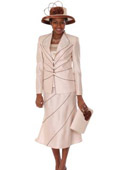 SKU#WO-122 Women 3 Piece Dress Set Champagne/Brown