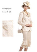 SKU#WO-146 Women 3 Piece Dress Set Champagne