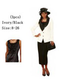 SKU#WO-171 Women 3 Piece Dress Set Ivory/Black