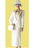 SKU#WO-192 Women Dress Set Ivory/Gold