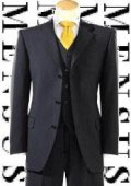 SKU# 887 No Pleated Flat Front Pants With 3 Buttons Solid Black Suits Super 150's Wool $199