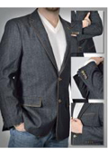 SKU#GA-1584 100% Cotton Denim 2 Button Single Breasted Jacket with Notch Lapels Besom Chest Pocket Black