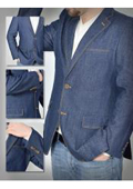 SKU#GA-9526 100% Cotton Denim 2 Button Single Breasted Jacket with Notch Lapels Besom Chest Pocket Navy
