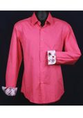 SKU#KA5503 Men's Fancy Slim Fit Dress Shirt - Cuff Pattern