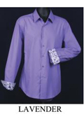 Men's Fancy Slim Fit Dress Shirt - Cuff Pattern Lavender $39