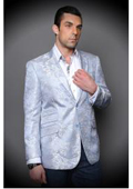 Floral Satin Shiny Sequin Shiny Flashy Silky Paisley Blazer Shiny Stage Sport Coat Jacket/Blazer - Light Blue ~ Sky Blue $225