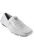 SKU#KA5721 Men's White Genuine Caimen Belly Driver Vestigium Driving Shoes slip on loafers for men