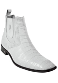 SKU#KA5531 Men's Genuine caiman ~ alligator Belly White Dress Boot