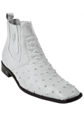 SKU#KA5780 Men's Genuine White Full Quill Ostrich Dressy Boot