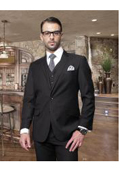 SKU#DX5467 Nice 2 Button Solid Color Black Mens Suit with a Vest 3 Piece Tapered Slim Fitted Flat Front Pants Wool