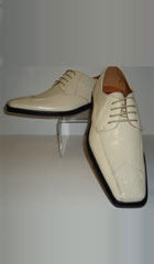 SKU#CK4572 Mens Creamy Ivory Modern Edgy Look Croco Embossed Dress Shoes