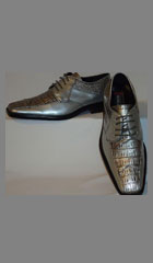 Mens Metallic Silver Gray Super Elegant Faux Croco Dress Shoes $99