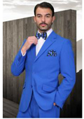 Bright blue suit