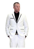 Tapered Leg Lower Rise Pants & Get Skinny Mens 2 Button White and Black with Notch Lapel Slim Fit Suit