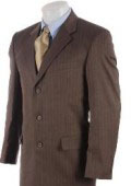 Men's 3 Button Mocha Brown Pinstriped Comfort Fit Poly Blend Light Weight Suit On Sale $139