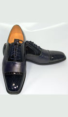 SKU#KA5002 Cap Toe Navy Oxford Leather Dress Shoe
