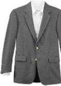 SKU#RFJ814 All-Season Grey 2 Button Front 4 On Sleeves Fully Lined Metal Button BLAZER (Men + Women) $175