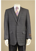 Peak Lapel 2 Button Vested Window Pane Checks Glen Plaid Houndstooth Patterns 3 Piece Suit Black $225