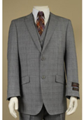Peak Lapel 2 Button Vested Window Pane Checks Glen Plaid Houndstooth Patterns 3 Piece Suit Grey $225
