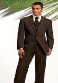 2 Button Solid Brown Vested Suits 100% Wool Mens Suits On Sale