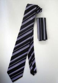 Neck Tie Set Black W/ Silver And Lavender Stripes Design $39