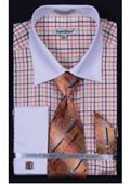 SKU#KA5506 Men's French Cuff Dress Shirt Set - Small Checker - Orange $65