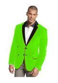 SKU#V-18F Velvet Velour Blazer Formal Tuxedo Jacket Sport Coat Two Tone Trimming Notch Collar lime mint Green $399
