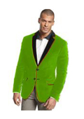 SKU#X-73R Velvet Velour Blazer Formal Tuxedo Jacket Sport Coat Two Tone Trimming Notch Collar lime mint Green ~ Apple ~ Neon Bright Green $399