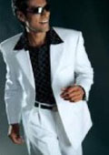 Men's Dress Casual White Suit High Twist All Year Around 3 Button Suit $79