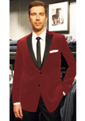 Velvet Velour Blazer Formal Tuxedo Jacket Sport Coat Two Tone Trimming Notch Collar Burgundy ~ Maroon ~ Wine Color $495